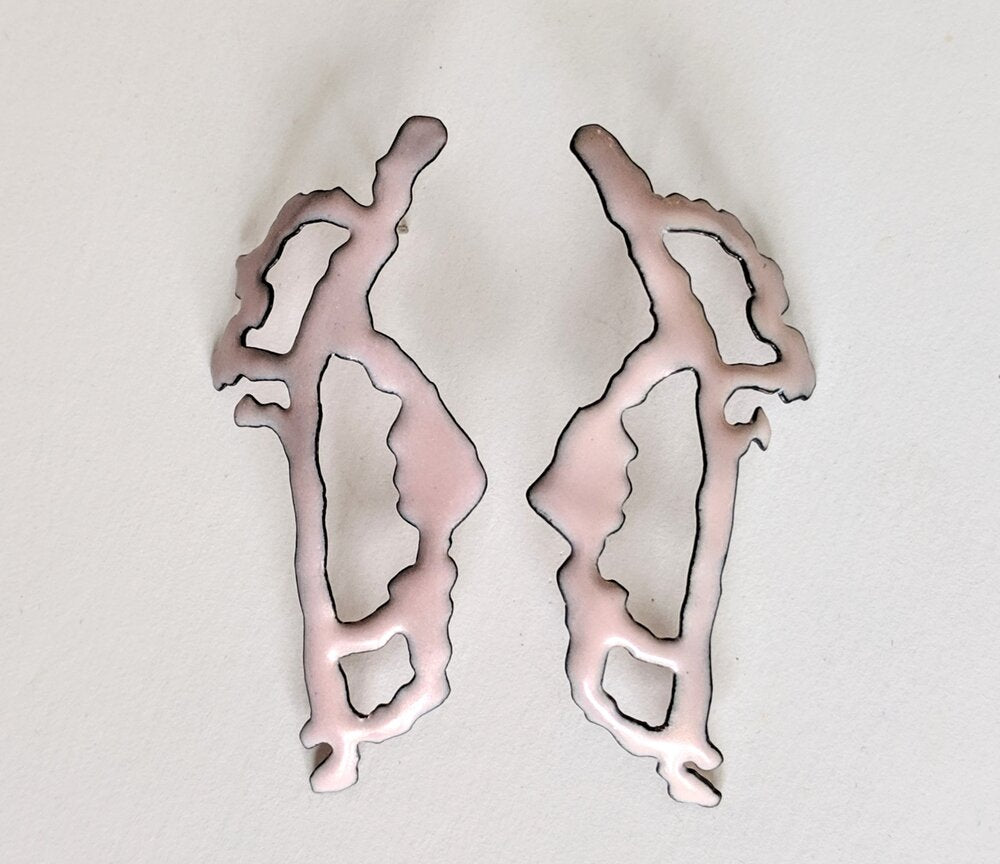 Pink Rorschach earrings
