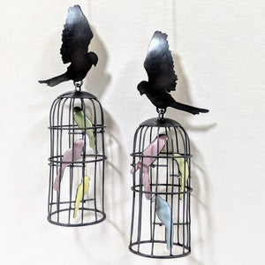 Load image into Gallery viewer, Caged Bird Earrings