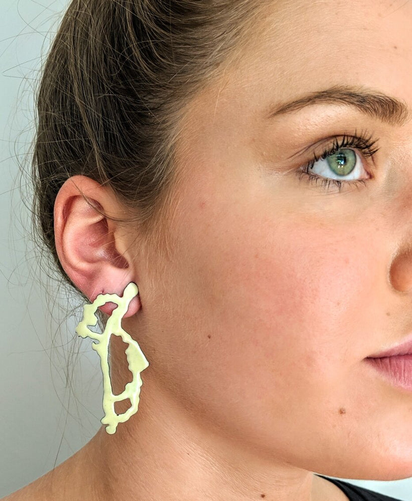 Yellow Rorschach earrings