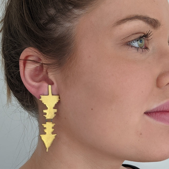 Gold Disco Rorschach Earrings