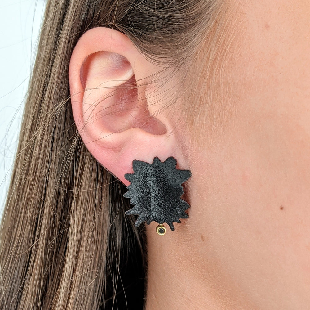 Load image into Gallery viewer, Black Burst Earrings with Black Diamonds