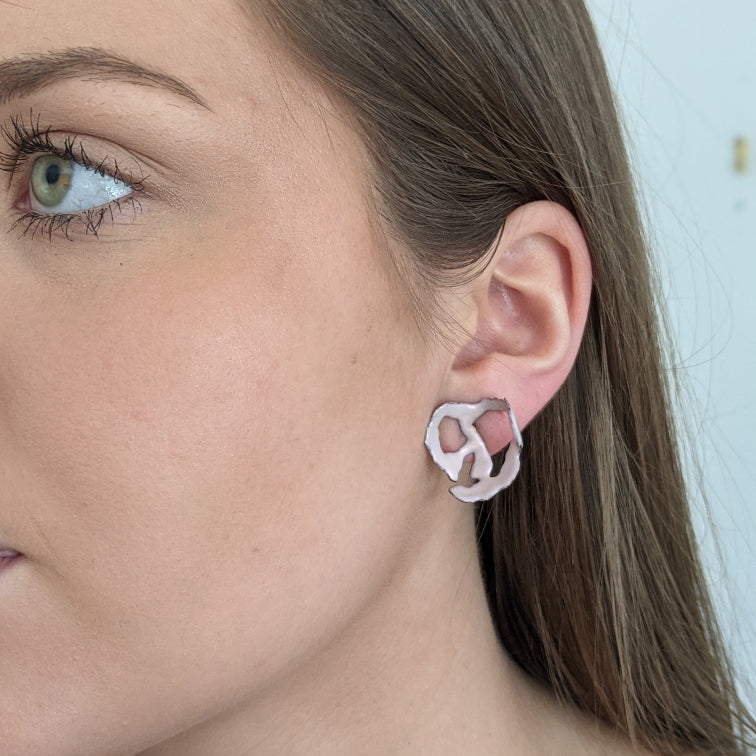 Pink organic post earrings