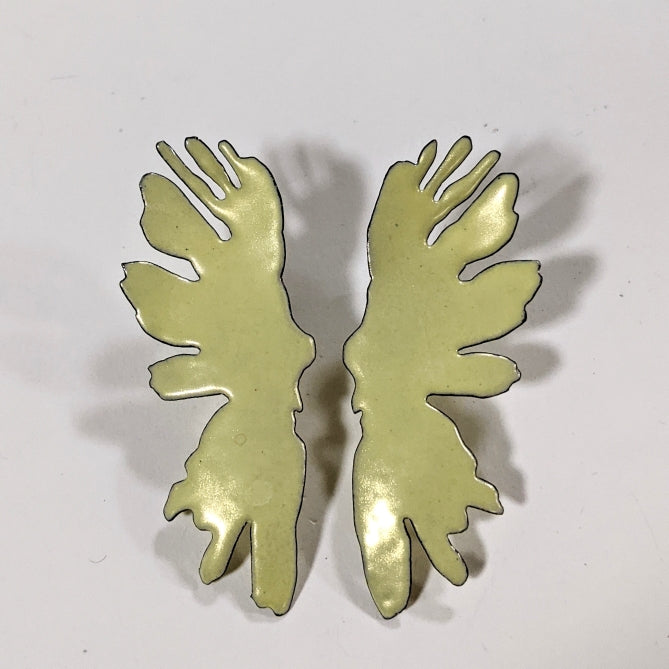Large Yellow Rorschach Earrings
