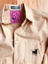 Load image into Gallery viewer, Dog Silhouette/ mustard brown mens Dress Shirt