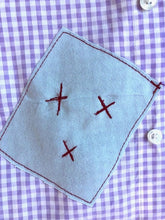 Load image into Gallery viewer, purple/white checkered red dog dress shirt