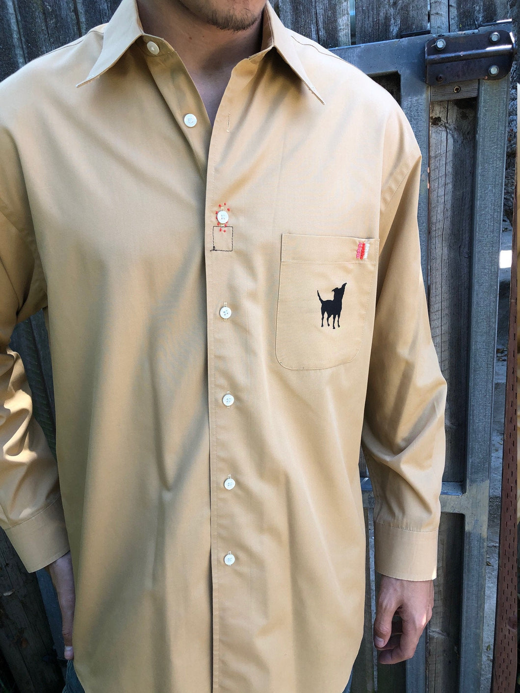 Dog Silhouette/ mustard brown mens Dress Shirt