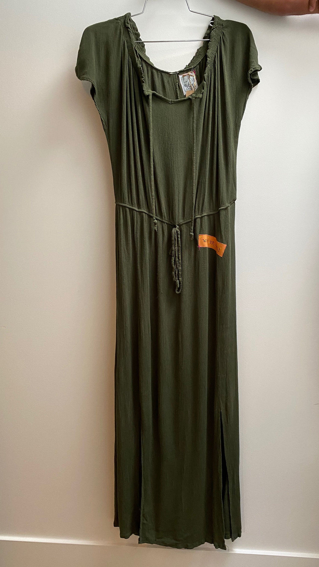 army green long stretchy cotton dress