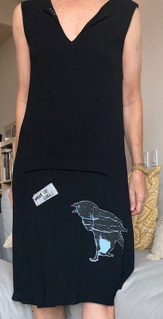 black silk featherweight dress