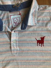 Load image into Gallery viewer, striped collared red dog t-shirt