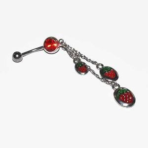 Strawberry Dangle Belly Bar 14G-Totally Pierced
