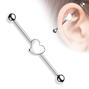 Heart Centre Industrial 14G 38mm-Totally Pierced