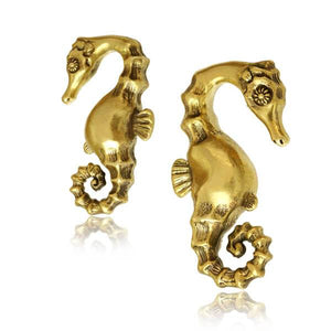 Brass Seahorse Ear Weights PAIR-Totally Pierced