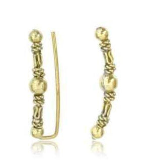 Brass Triple Bead Ear Crawler Pair-Totally Pierced