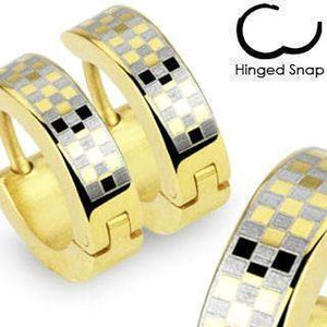 Gold Checkered Huggies Earrings Pair-Totally Pierced