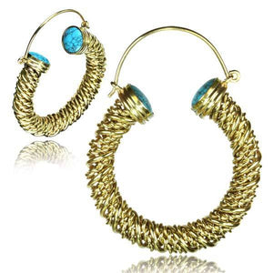 Gold Turquoise Rope Earring PAIR-Totally Pierced