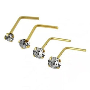 9kt Yellow Gold Gem Nose L Bend 22G Pack-Totally Pierced