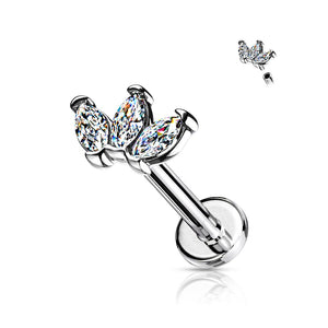 Triple Marquise Internally Threaded Labret 16G-My Body Piercing Jewellery ?id=15345978507338