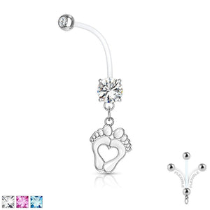 Heart Feet Pregnancy Belly Bar 14G-My Body Piercing Jewellery ?id=27952495198282