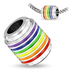 Pride Ring Stainless Steel Pendant-Totally Pierced
