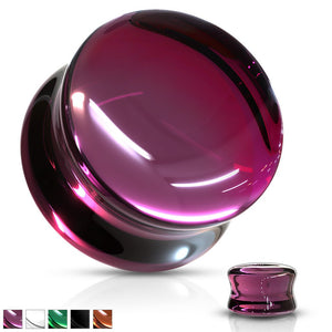 Tinted Glass Saddle Plug 6mm-16mm-Totally Pierced