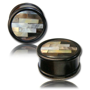 Shell Mosaic Arang Wood Plug 14mm 16mm-Totally Pierced