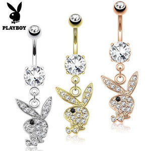 Playboy Paved Bunny Dangle Belly Bar 14G-Totally Pierced