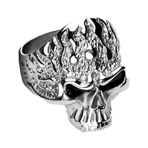 Flaming Skull Ring-Totally Pierced
