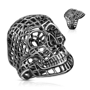Mesh Skull Ring-Totally Pierced