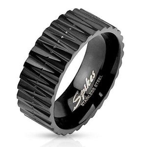Black Zigzag Cut Ring-Totally Pierced