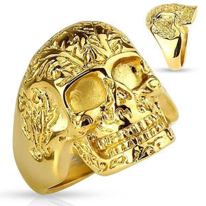 Gold Skull Ring-Totally Pierced