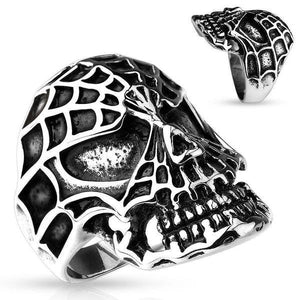 Web Skull Ring-Totally Pierced