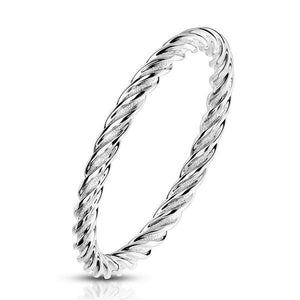 Twisted Steel Ring-Totally Pierced