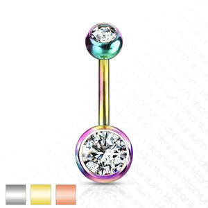Solid Titanium Double Gem Belly Bar 14G-Totally Pierced