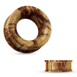 Flat Flared Root Wood Tunnel 6mm-25mm-Totally Pierced