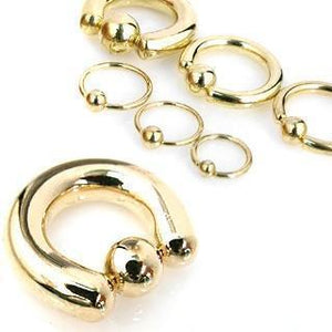 Gold IP Captive Ring 20G-2G-Totally Pierced