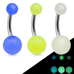 Solid Titanium Glow Belly Bar 14G-Totally Pierced