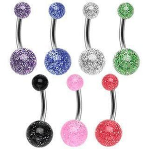 Solid Titanium Glitter Belly Bar 14G-Totally Pierced