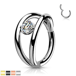 Double Hoop Gem Hinged Ring 16G 8mm-Totally Pierced