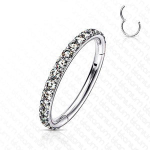 Solid Titanium Side Paved Hinged Ring 18G 16G-Totally Pierced
