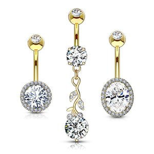 3pc Gold Plated Belly Bars 14G-Totally Pierced