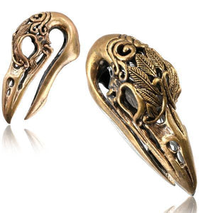 Rose Bronze Crow Skull Feather Ear Weights PAIR-Totally Pierced