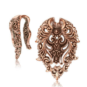 Rose Bronze Filigree Ear Weights PAIR-Totally Pierced