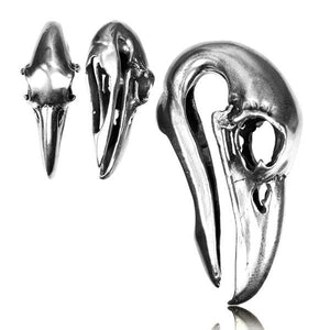 White Brass Crow Skull Ear Weights PAIR-Totally Pierced