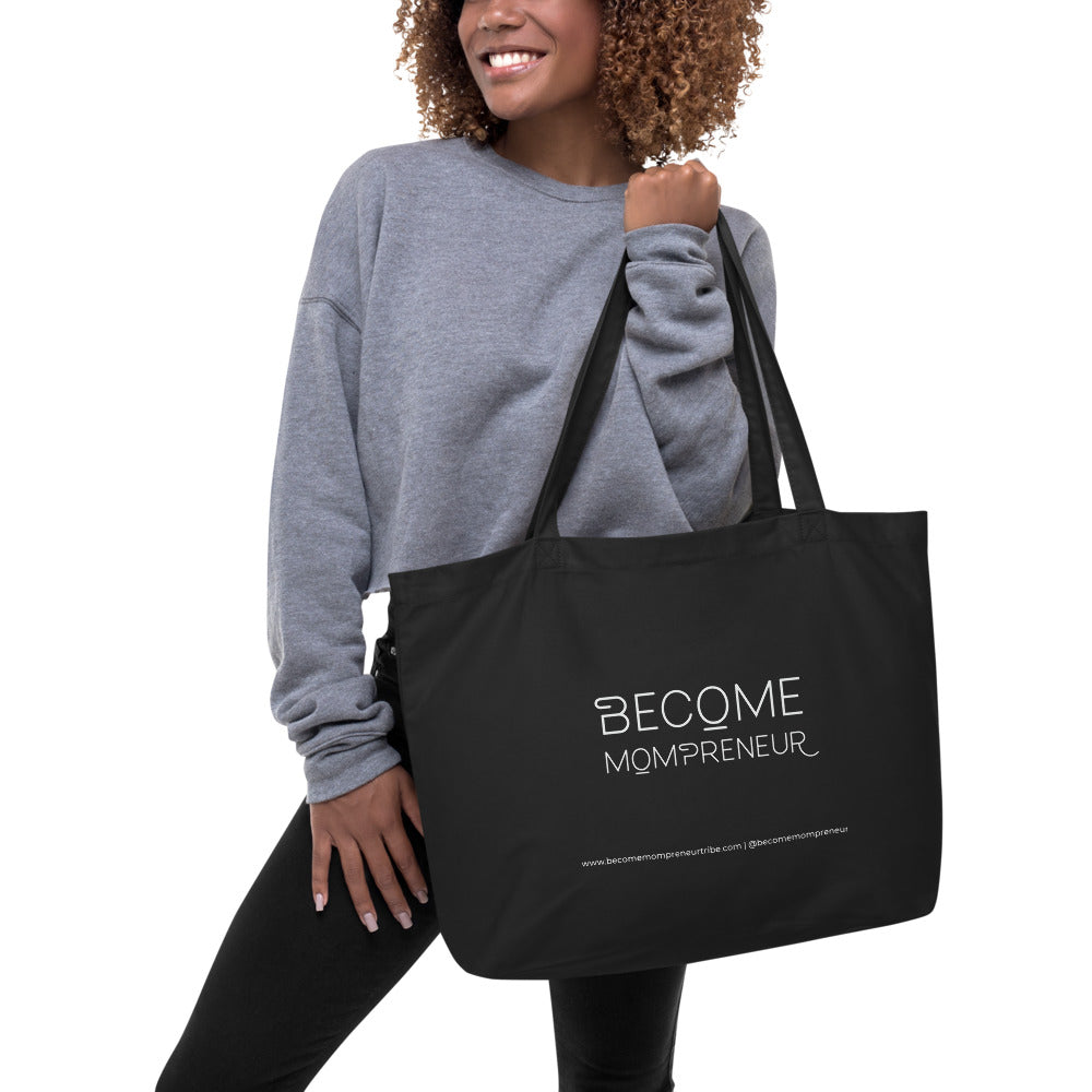 "Large Organic ""Become Mompreneur"" Tote Bag"