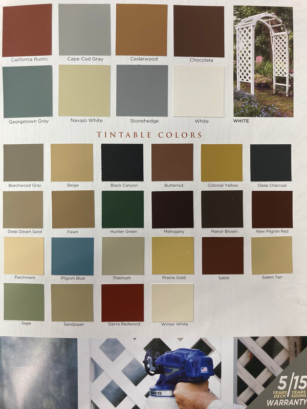 (from top left to bottom right) California Rustic, Cape Cod Gray, Cedarwood, Chocolate, Georgetown Gray, Navajo white, Stonehedge, White, Beechwood Gray, BEige, Black Canyon, Butternut, Colonial Yellow, Deep Charcoal, Deep Desert Sand, Fawn, Hunter Green, Mahogany, Manor Brown, New Pilgrim Red, Parchment, Pilgrim Blue, Platinum, Prairie Gold, Sable, Salem Tan, Sage, Sandpiper, Sierra Redwood, Winter White