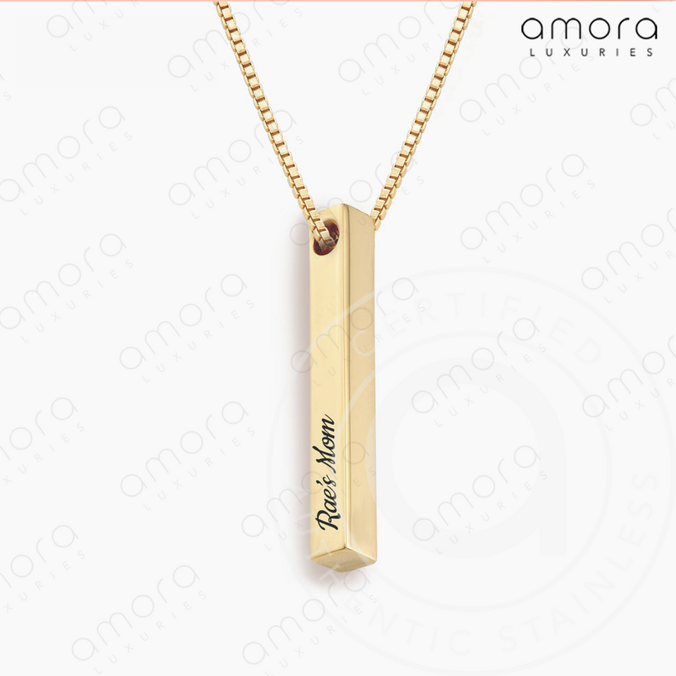 custom hand stamped gold four sided vertical bar necklace