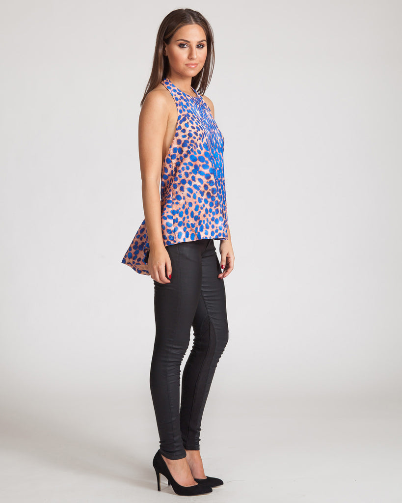 Cameo The Leagues Top-Cobalt Leopard