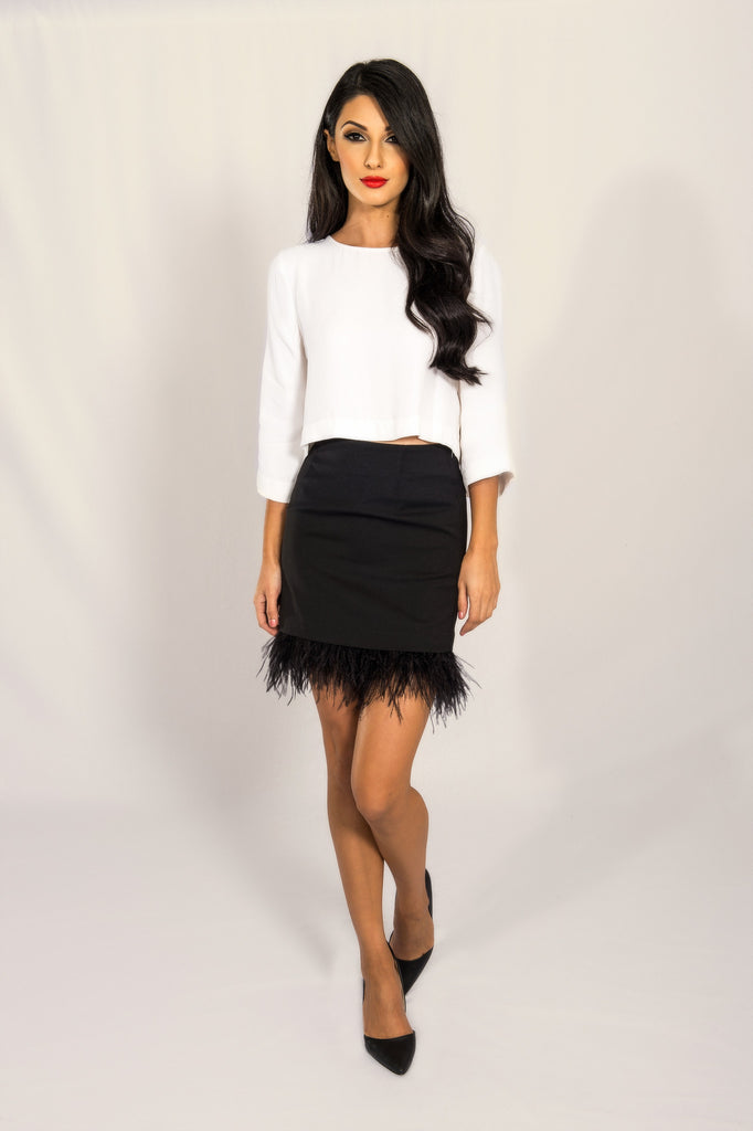 Joa Black Feather Hem Skirt