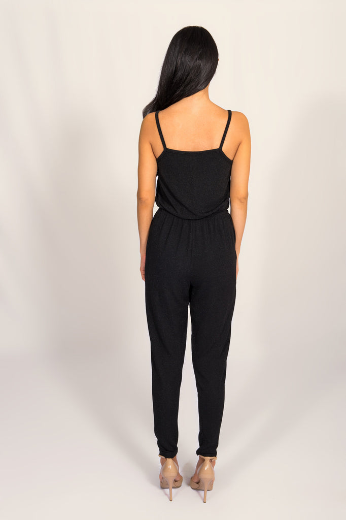 Lucca Couture Black Metallic Jumpsuit
