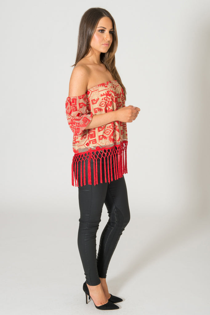 Line & Dot Embroidered Red Fringe Tube Top